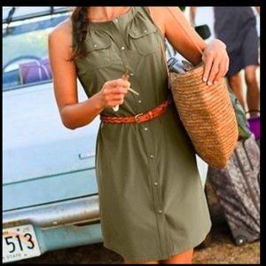athleta shaper shirt dress snap front 12 olive